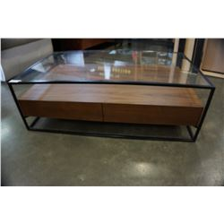 GLASSTOP COFFEE TABLE W/ 2 DRAWER STORAGE