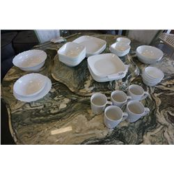 63PCS OF CORELLE DISHES AND MUGS, AND 3 OTHER SERVING DISHES
