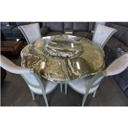 ITALIAN MARBLE TABLE W/ TIERED CENTER AND 4 CHAIRS SURFACE - EPOXY DAMAGE