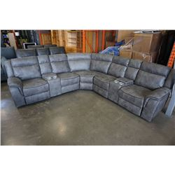 NEW MODERN GREY STITCHED MICROSUEDE 3 PIECE SECTIONAL SOFA, WITH 3 POWER RECLINERS, 2 CONSOLES, AND
