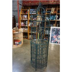 6FT WROUGHT IRON AND GLASS WINE RACK