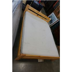 PINE DOUBLE SIZE BEDFRAME WITH IKEA MATTRESS