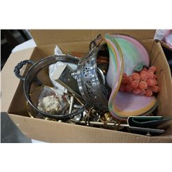 BOX OF ART GLASS BOWL AND SILVER