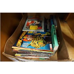 BOX OF GRAPHIC NOVELS, MAGAZINES, HARD COVERS, ETC