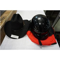 SMITH BILT COWBOY HAT SIZE 6-3/4 AND MOTOR CYCLE HELMET