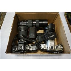 BOX LOT OF CAMERA LENSES AND 2 CAMERAS