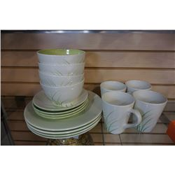 4 PLACE SETTING, SEARS HOME PLATES, BOWLS AND MUGS
