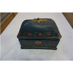 HAND MADE PAINTED JEWELRY BOX WITH CONTENTS