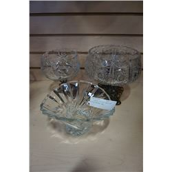 2 PINWHEEL CRYSTAL BOWLS AND OTHER CRYSTAL BOWL