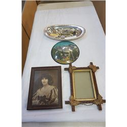 SILVER PLATE TRAY, SALT AND PEPPER, SPOONS AND FORKS, VINTAGE PORTRAIT, AND DOME GLASS ART