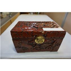 EASTERN CARVED BOX W/ CONTENTS