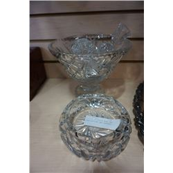 CRYSTAL PEDESTAL BOWL AND CANDLESTICKS AND ASHTRAY