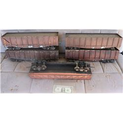 ZZ- TRAINS CATTLE CARS ANTIQUE FILMING MINIATURE OT OF 5