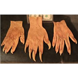 X-MEN SABRETOOTH SCREEN USED STUNT STAGE 2 & 3 SILICONE GLOVES WITH CLAWS! LOT OF 3