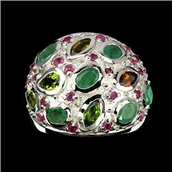 Natural  Emerald Tourmaline & Ruby Ring