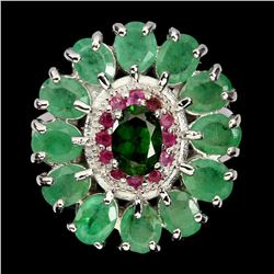 Natural Emerald Ruby & Chrome Diopside Ring