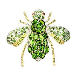 Natural Ruby & Oval Green Chrome Diopside Bee Brooch