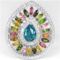 Natural LONDON BLUE TOPAZ TOURMALINE Ring