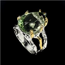 Natural Green Amethyst Two Tone Ring