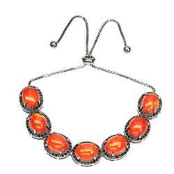 Natural Oval 10x8mm Orange Fire Opal & Spinel Bracelet