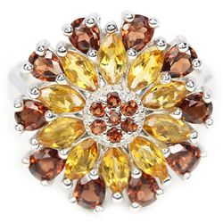 NATURAL ORANGISH YELLOW CITRINE & GARNET RING