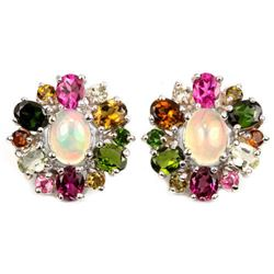 NATURAL WHITE OPAL & MULTI COLOR TOURMALINE Earring
