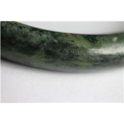 Natural Mottled Green jade Bangle - GIA Certified