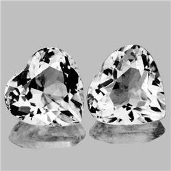 Natural Diamond White Aquamarine Heart Pair 7.50 MM