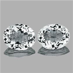 Natural Diamond White Aquamarine Pair 8x7 MM - FL