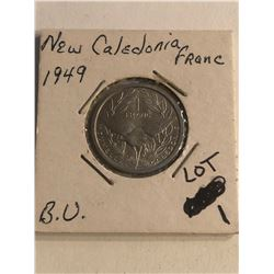 1949 New Caledonia Franc Brilliant Uncirculated Coin