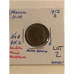 1952B France 10 Franc Uncirculated DOUBLE HEAD OBVERSE KM 915.2