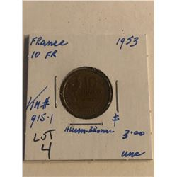 1953 France 10 Franc Uncirculated Grade KM 915.1