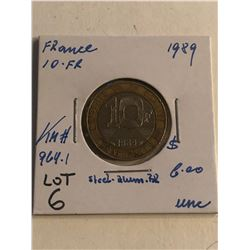 1989 France 10 Franc Uncirculated High Grade Grade KM 964.1