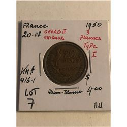 1950 France 20 Franc 3 Plumes Type 1 AU High Grade Grade KM 916.1
