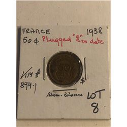 ERROR 1938 France 50 Centimes PLUGGED 8 in Date KM 894.1