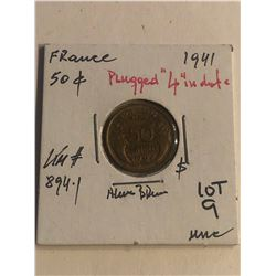 ERROR 1941 France 50 Centimes PLUGGED 4 in Date Uncirculated KM 894.1