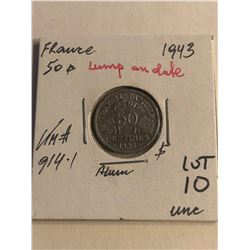 ERROR WWII 1943 France 50 Centimes LUMP in Date Uncirculated KM 914.1
