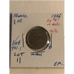 1966 France 1/2 Franc Large 6 Type in Date Extra Fine KM 931.1