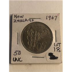 1967 New Zealand 50 Endeaver Uncirculated High Grade Coin