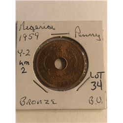 Beautiful Brilliant Uncirculated 1959 Nigeria 1 Penny Bronze Coin