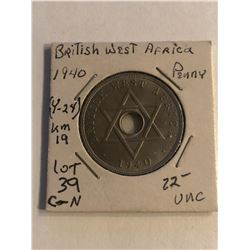 RARE 1940 British West Africa Penny Uncirculated Coin