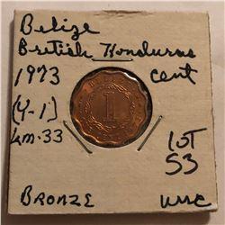 1973 Belize British Honduras Cent in MS High Grade