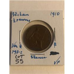 Early 1910 Great Britain 1/2 Penny in Very Fine Grade Coin