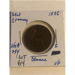 Early 1886 Great Britain 1/2 Penny Very Fine Grade
