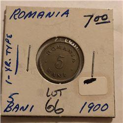 1900 Romania 5 Bani Coin Nice