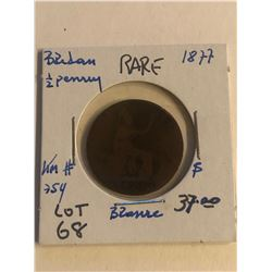 Rare Early 1877 Great Britain 1/2 Penny