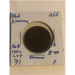 Early 1866 Great Britain 1/2 Penny Fine Grade