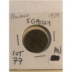 Nice 1939 Poland 5 Groszy in AU High Grade
