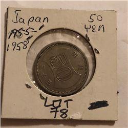 1955 to 1958 Japan 50 Yen in High Grade