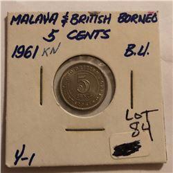 1961 British Borneo 5 Cents in Brilliant Uncirculated Grade